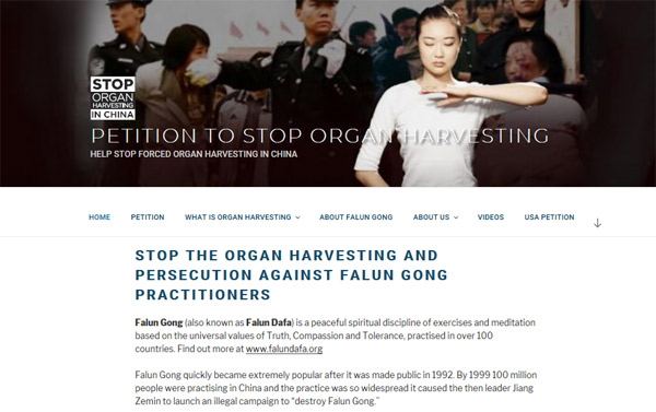 STOP THE ORGAN HARVESTING AND PERSECUTION AGAINST FALUN GONG PRACTITIONERS